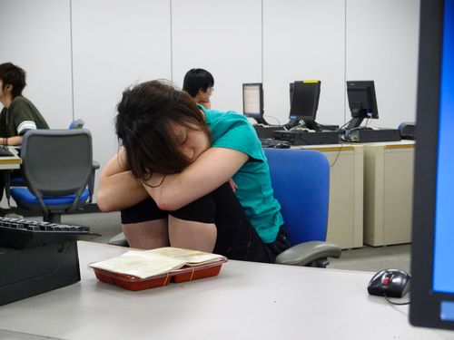 Sleeping girl, Waseda Computer Lab