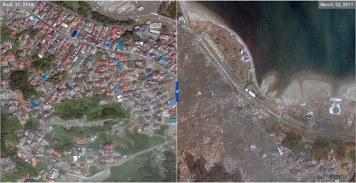 Satellite photo japan before after tsunami earthquake