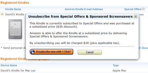 Kindle special offers unsubscribe