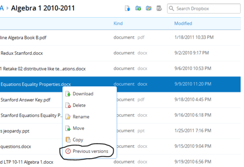 Dropbox previous versions