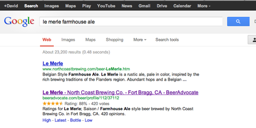 Google beer rating